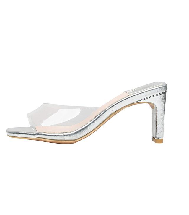AnnaKastle Simple Transparent Clear Mule Heel Slide Sandals