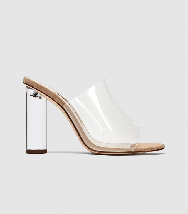 Zara Vinyl Mules With Methacrylate Heel