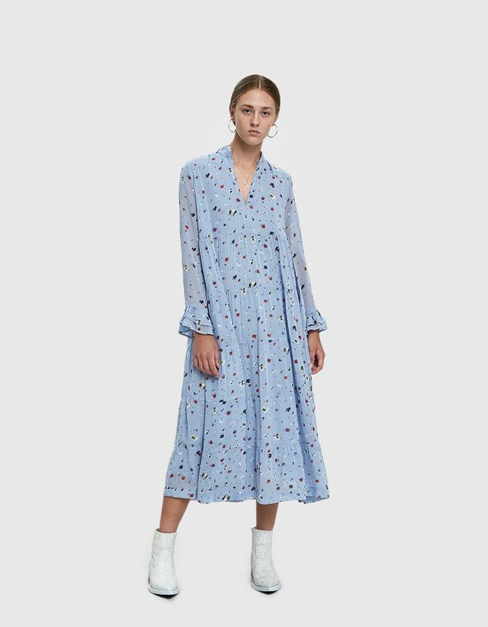 pale blue floral print dresses