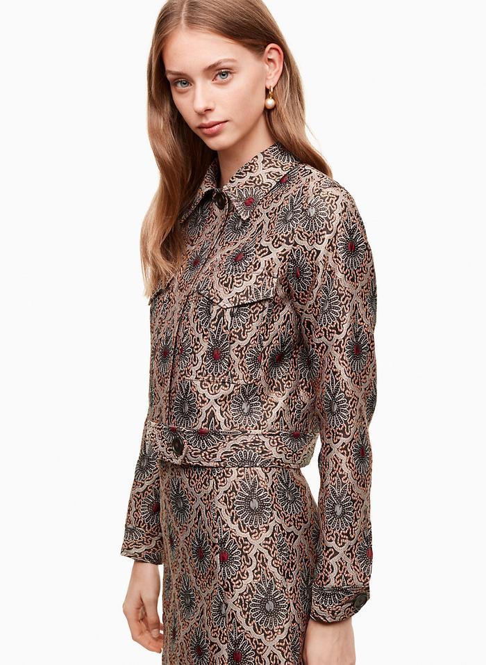 shiny floral jacquard jackets for fall