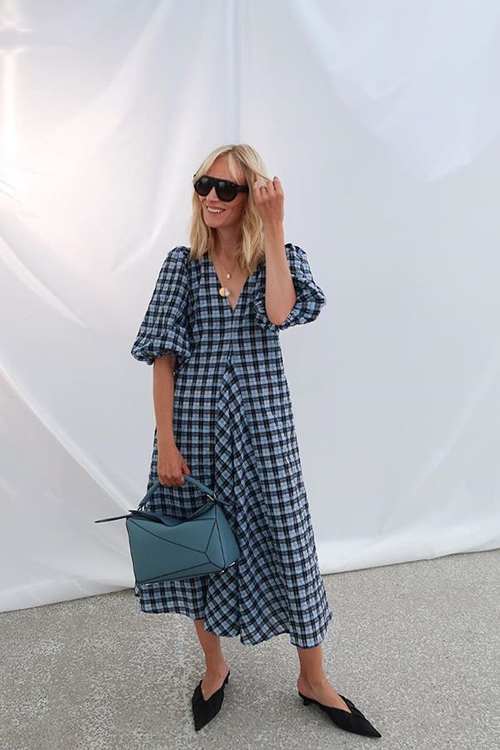 Copenhagen fashion week street style buys: Marie Hindkaer wears Ganni checked dress
