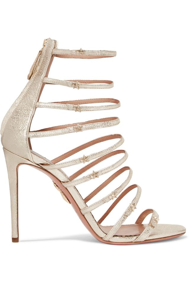 Claudia Schiffer Star Embellished Metallic Textured-leather Sandals