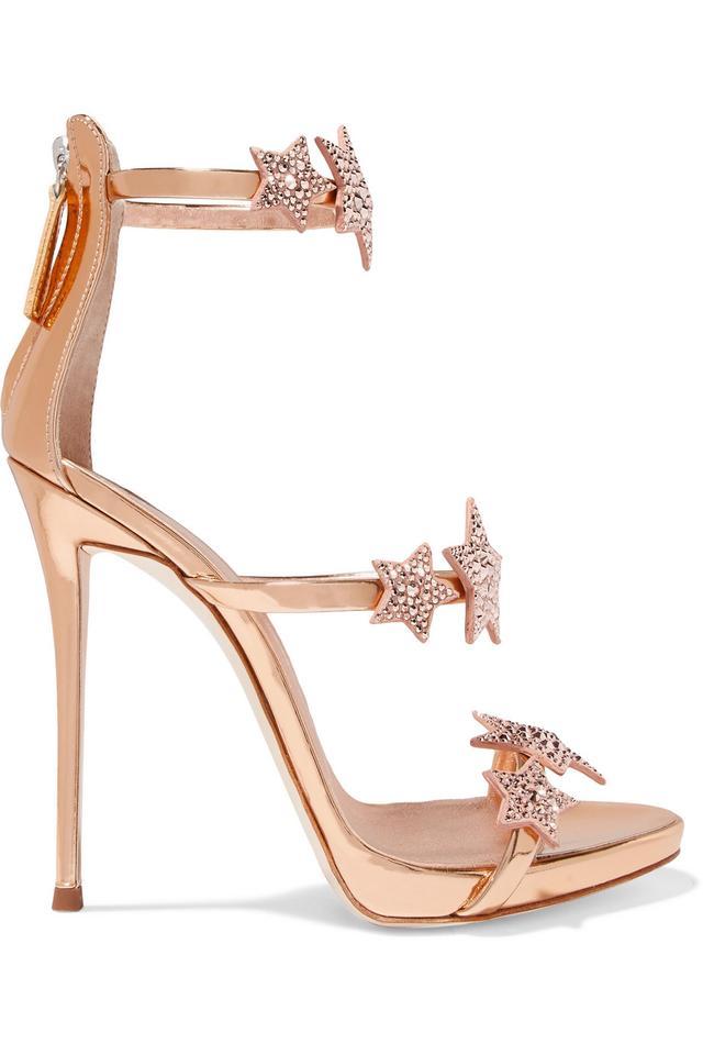 Coline Crystal-embellished Appliquéd Metallic Leather Sandals