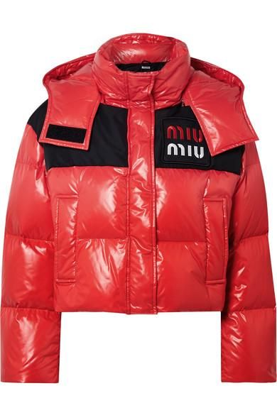 Cropped Two-tone Quilted Shell Down Jacket