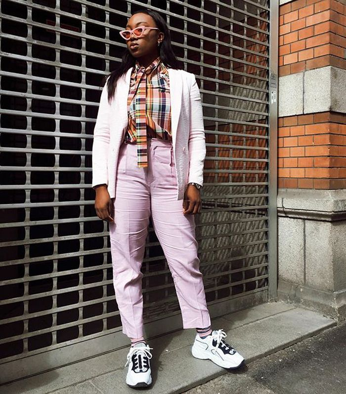 types of pants: Nnenna Echem wearing straight-leg pants