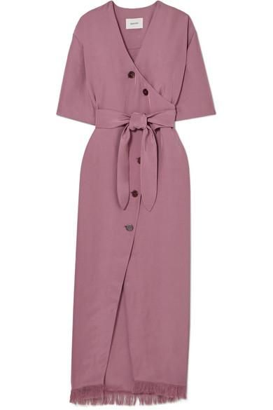Belted Frayed Satin-twill Midi Dress