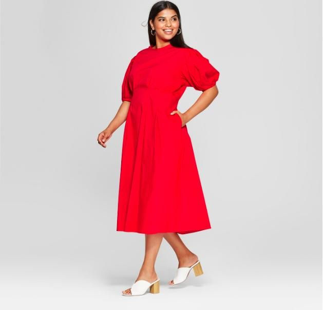 Women's Plus Size Puff Sleeve Midi Dress