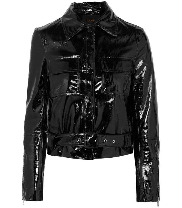 Maje Cropped Patent-Leather Jacket