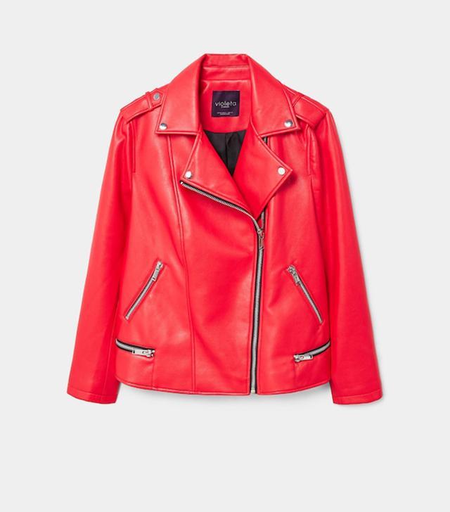 Violeta by Mango Zipped Biker Jacket