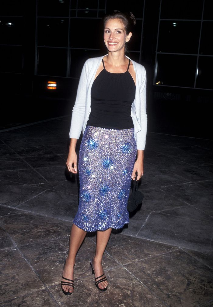 Best 90s autumn outfits: Julia Roberts wearing black cami top and sequin skirt