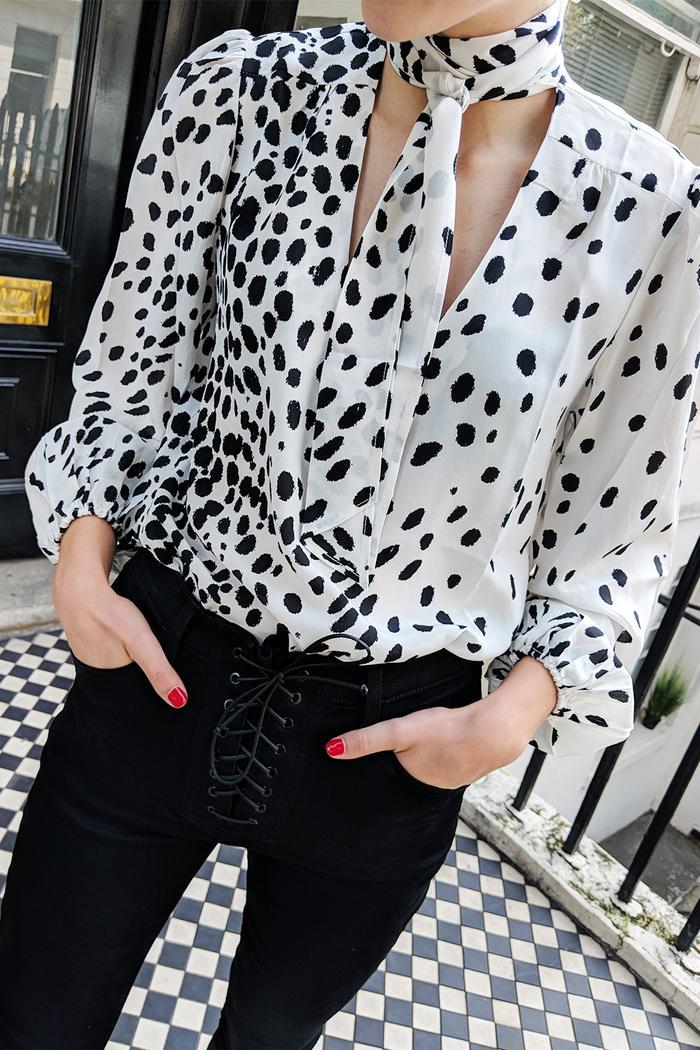 J Brand Black Skinny Jeans: Joy Montgomery wears J Brand jeans and Rixo top