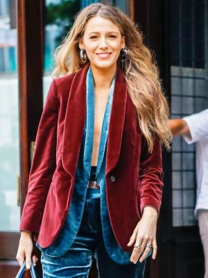 Blake Lively Miraculously Wore a Triple-Velvet Pantsuit in Summer