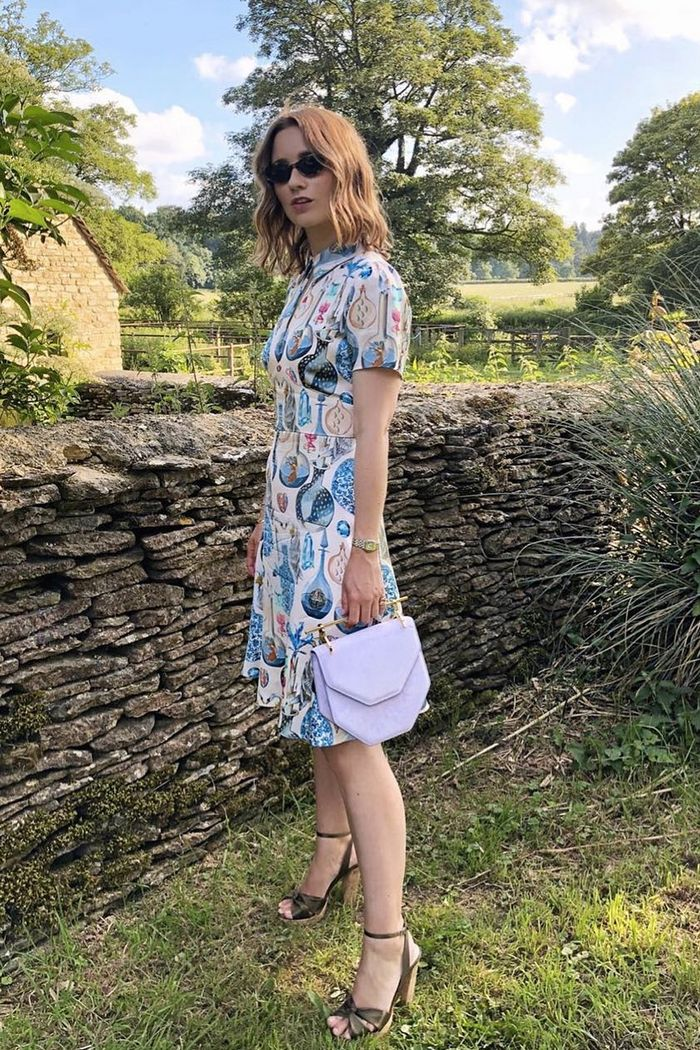 best temperley dresses: Kelly Eastwood in a printed mini dress at the polo