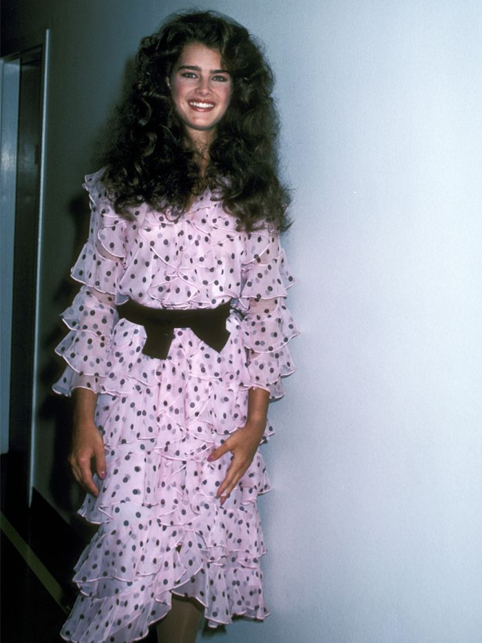 Brooke Shields style: Brooke wears polka-dot bow dress