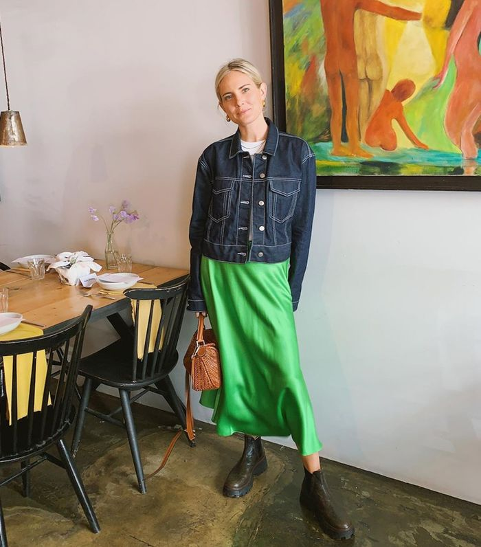 Autumn-weekend outfit ideas: Lucy Williams green slip skirt
