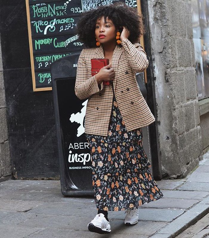 Autumn clothes: Ada wears a checked double-breasted blazer