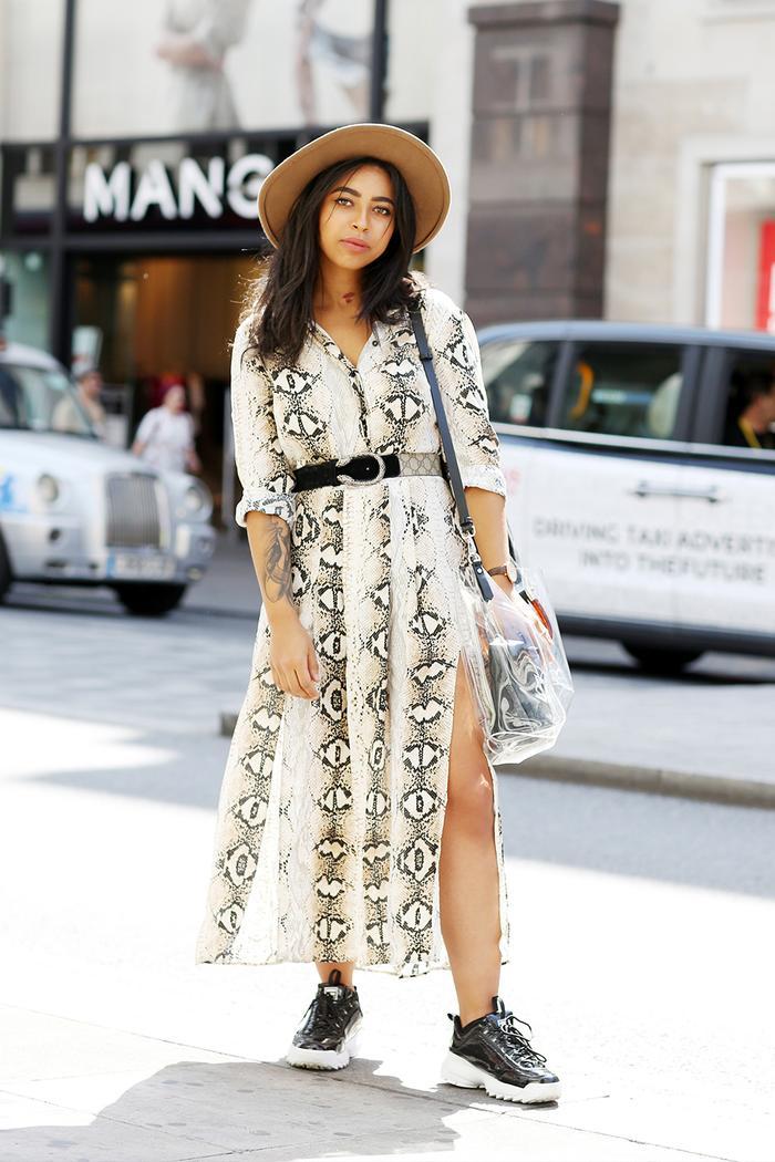 Topshop snake-print dress: Kara Tomlinson wears Topshop dress