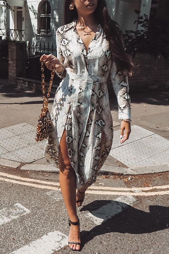 Topshop snake-print dress: model wears Topshop dress