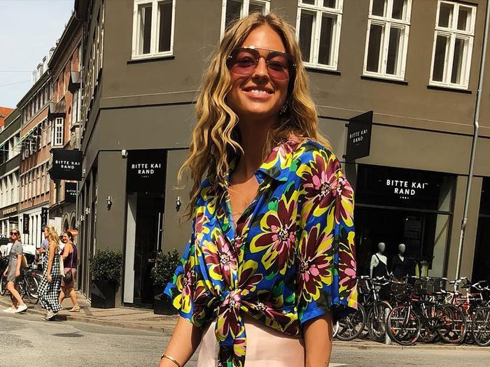 Ugly fall fashion trends: Emili Sindlev wearing printed shirt