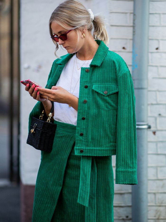 Corduroy fashion trends: green cord skirt