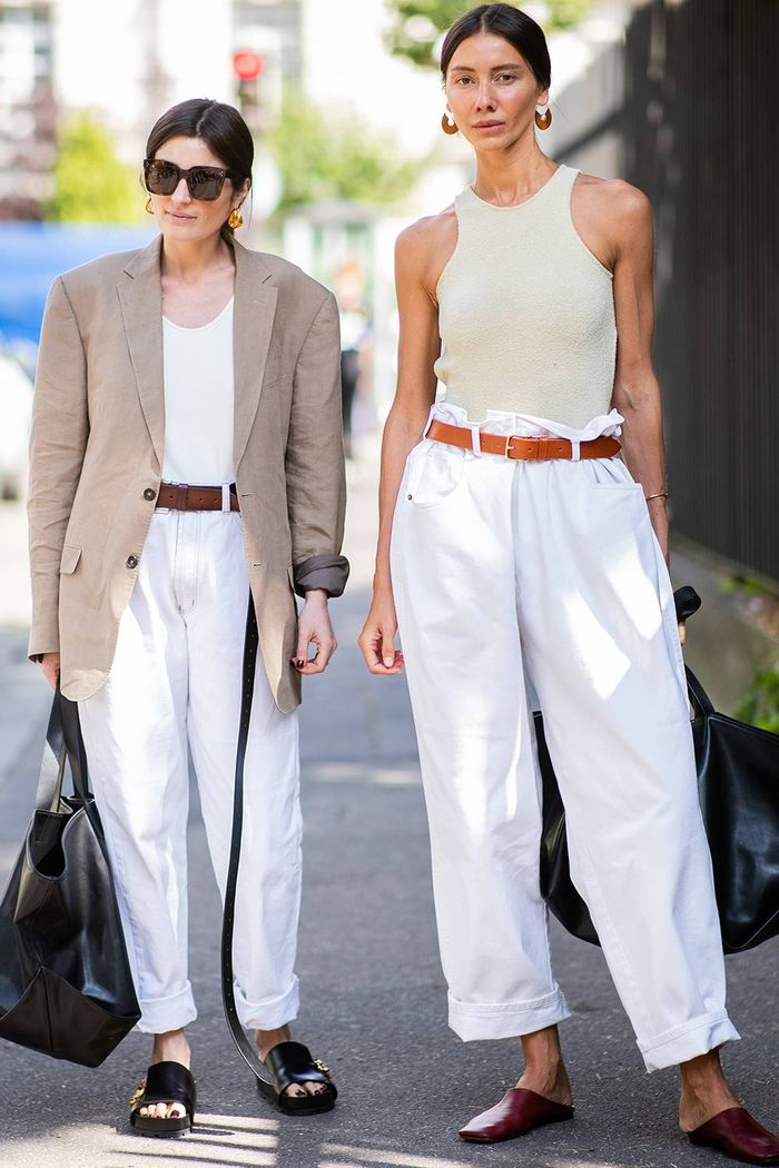 Best summer outfits: Julie Pelipas wearing white jeans and Celine top