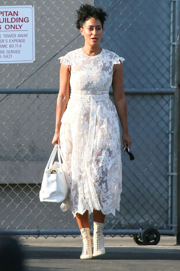 Tracee Ellis Ross white lace dress