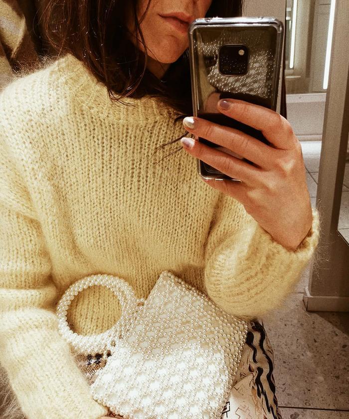 Best Topshop bags: @francescasaffari with Topshop's Peggie pearl tote