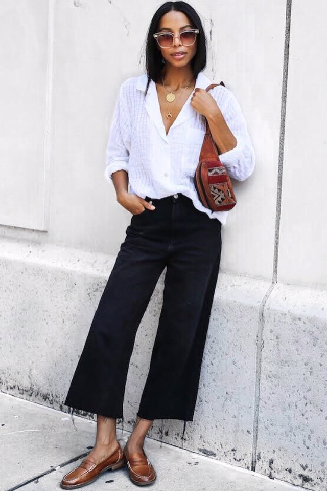 wide-leg-jean outfits for fall: white blouse and loafers