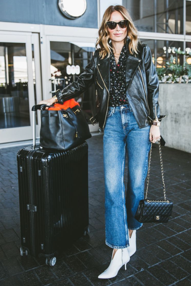 wide-leg-jean outfits for fall: edgy leather jacket