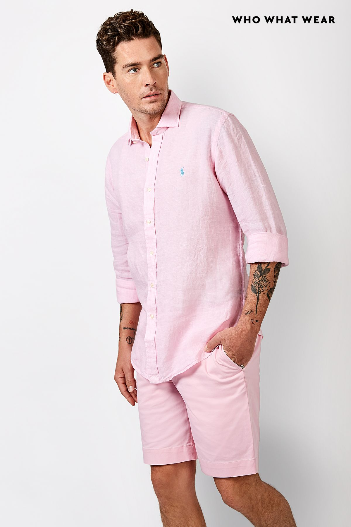 Joliffe wears: Polo Ralph Lauren Men's Classic Fit Linen Shirt ($179), Polo Ralph LaurenMen's Stretch Classic Fit Shorts ($139)