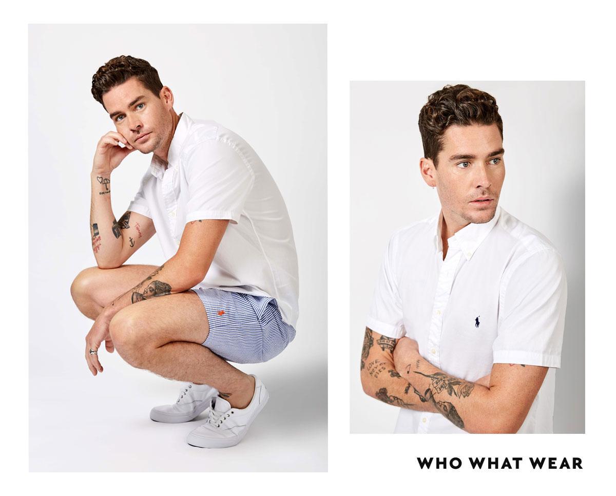 Joliffe wears:Polo Ralph LaurenMen's White Feather Weight Twill Cotton Shirt($129), Polo Ralph LaurenMen's Blue STripe Seersucker Swim Trunks($139),Polo Ralph...