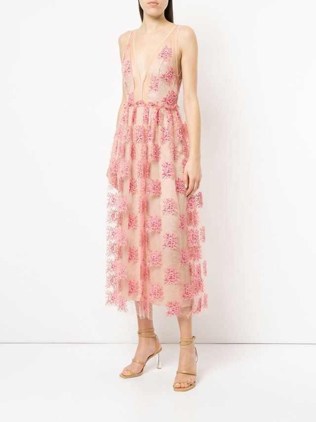 embroidered sheer mid dress