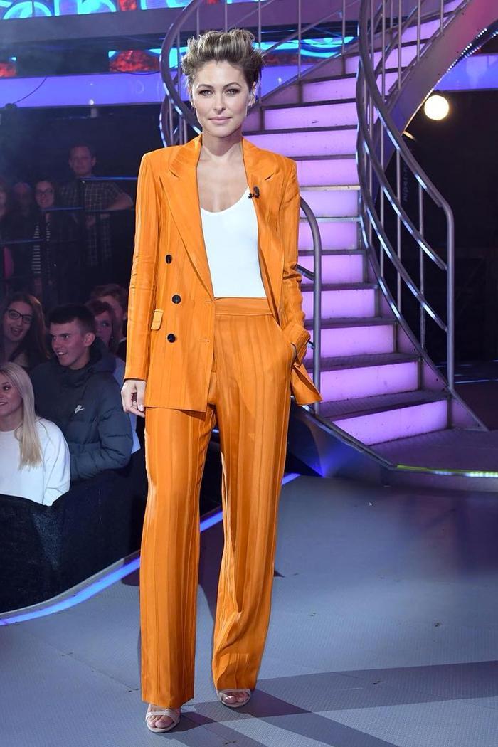 Emma Willis wearing orange Topshop suit