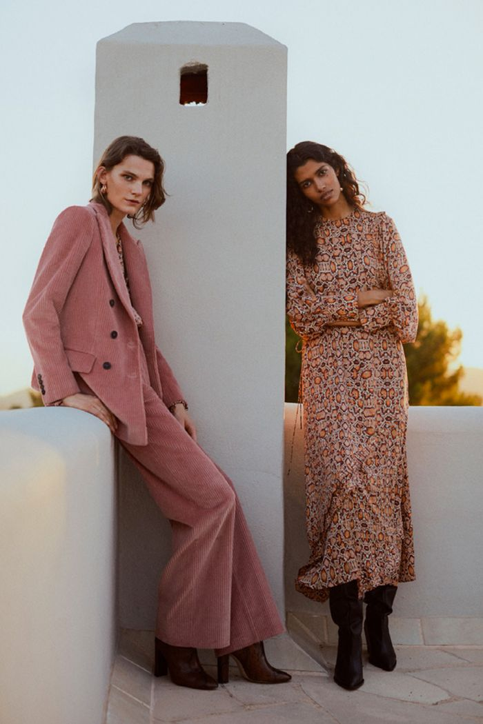 Mango's autumn/winter 2018: models wearing cord suit and animal print dress