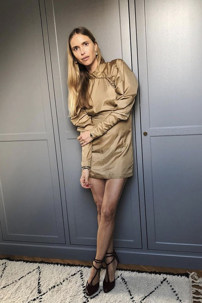 types of sleeve: Pernille Teisbaek in a mini dress with puffy, leg of mutton sleeves
