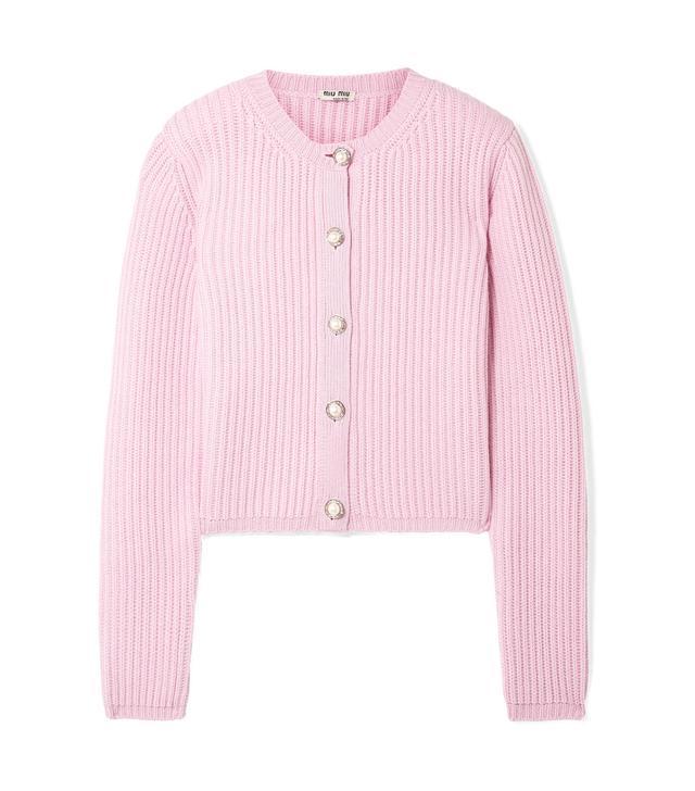 Embellished Ribbed Cashmere Cardigan