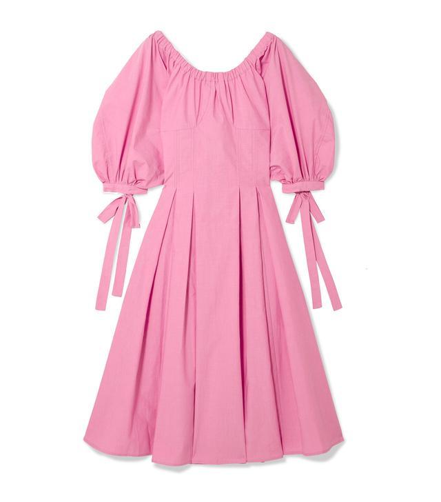 Greta Bow-embellished Cotton Midi Dress