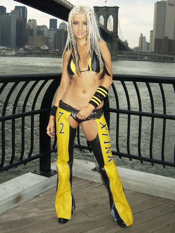 Rebellious fashion icons: Christina Aguilera wearing leather chaps