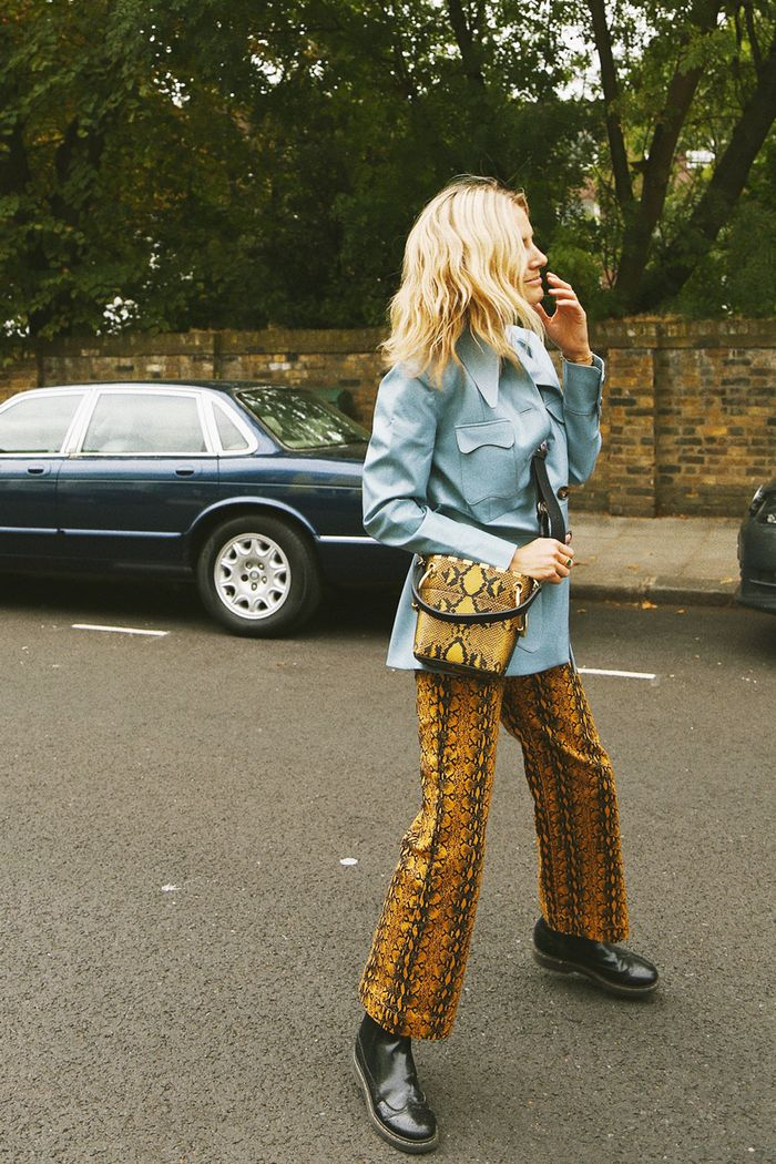 How to wear summer trends in autumn: Lucy Williams wearing snakeskin AlexaChung trousers