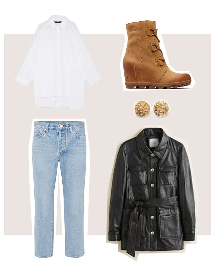 fall leather jacket outfit