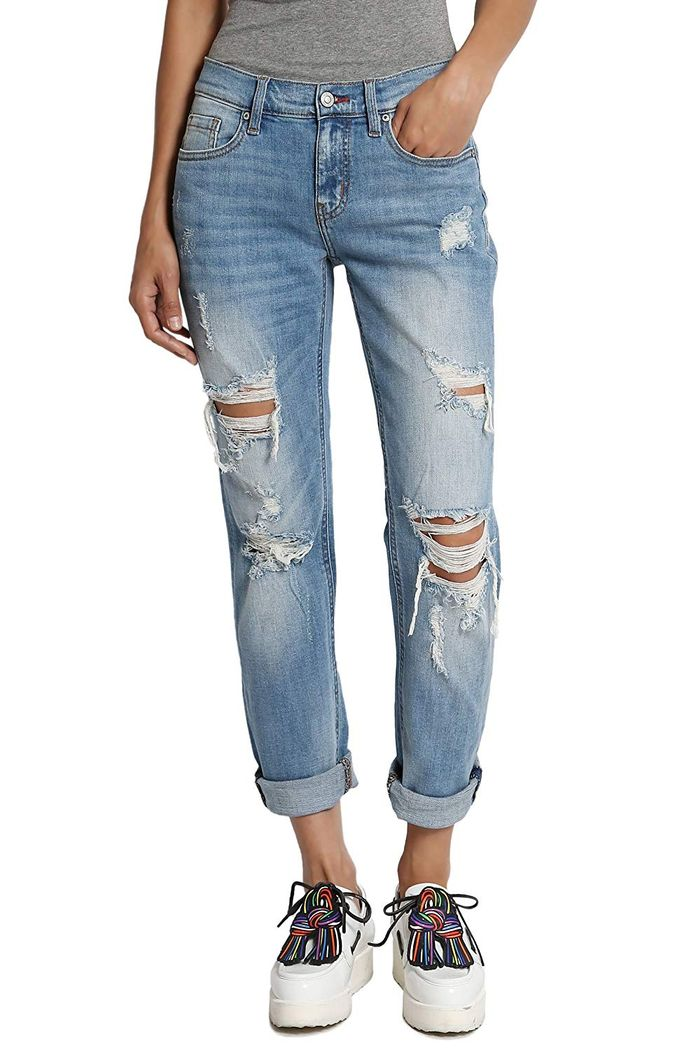 Women/'s Heavy Distressed Shredded Torned Ripped Low Rise Skinny Jeans Long Pants