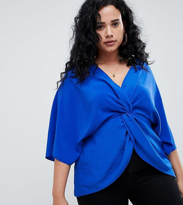 ASOS DESIGN curve knot front to with kimono sleeve