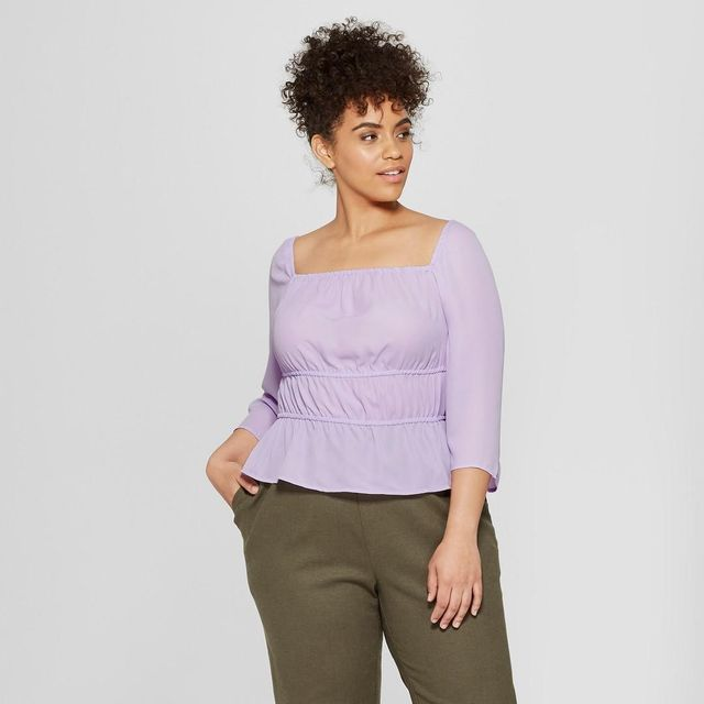 Plus Size 3/4 Sleeve Square Neck Top