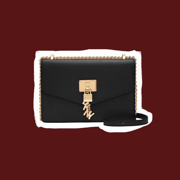 DKNY black leather handbag