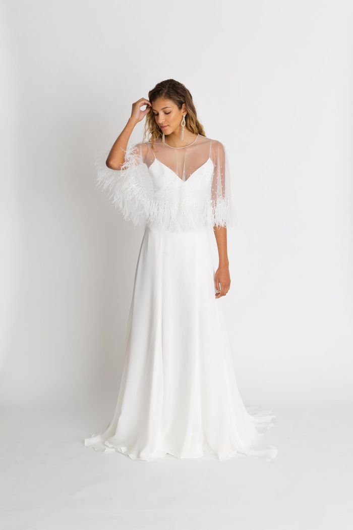 best ostrich feather bridal capes