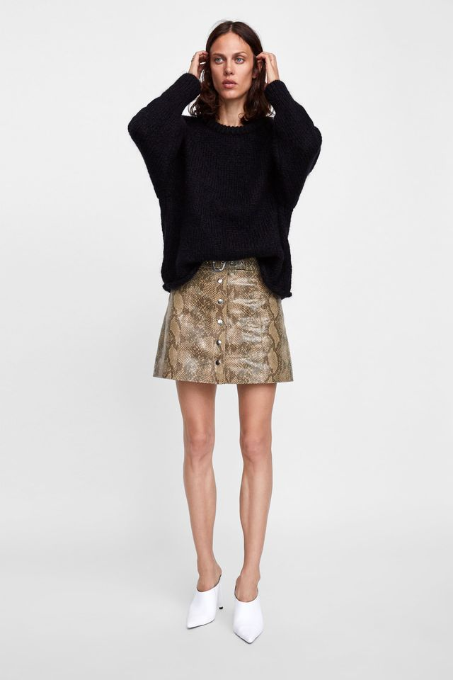 Zara Snakeskin Print Leather Mini Skirt