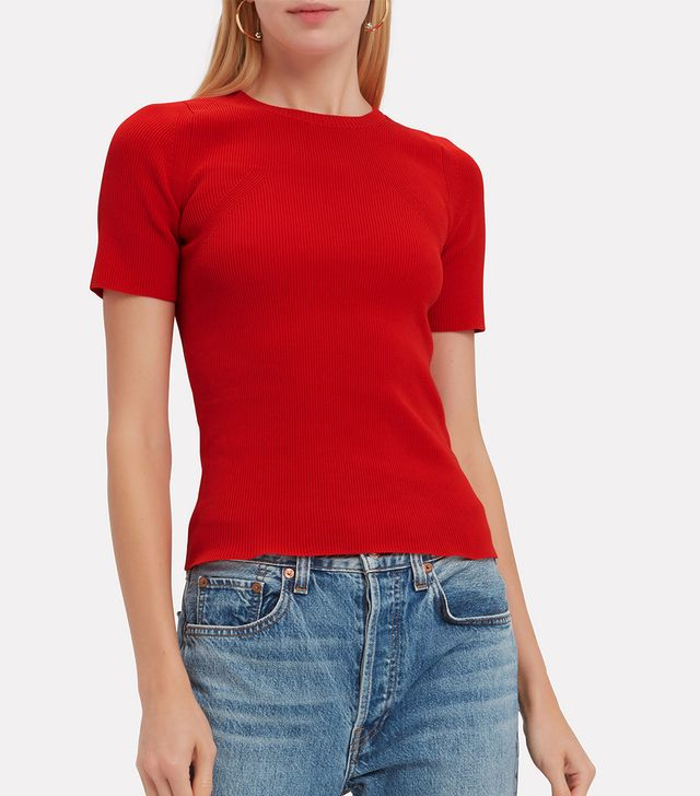 Helmut Lang Rib Knit Essential Red Tee