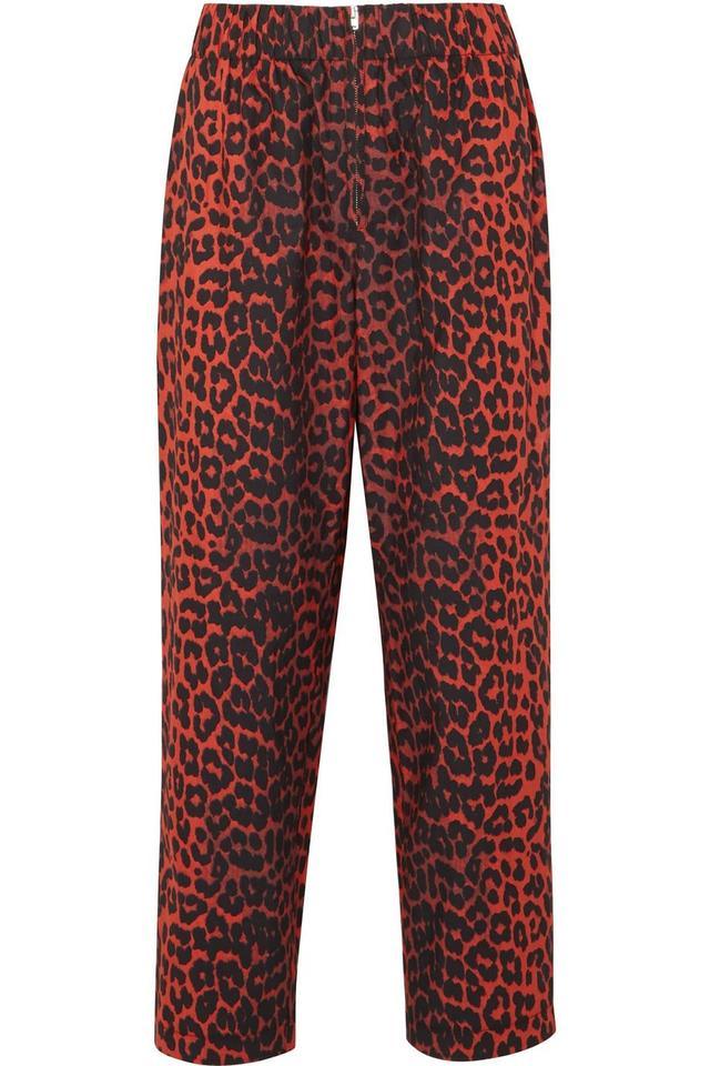 Bijou Leopard-print Cotton-twill Tapered Pants