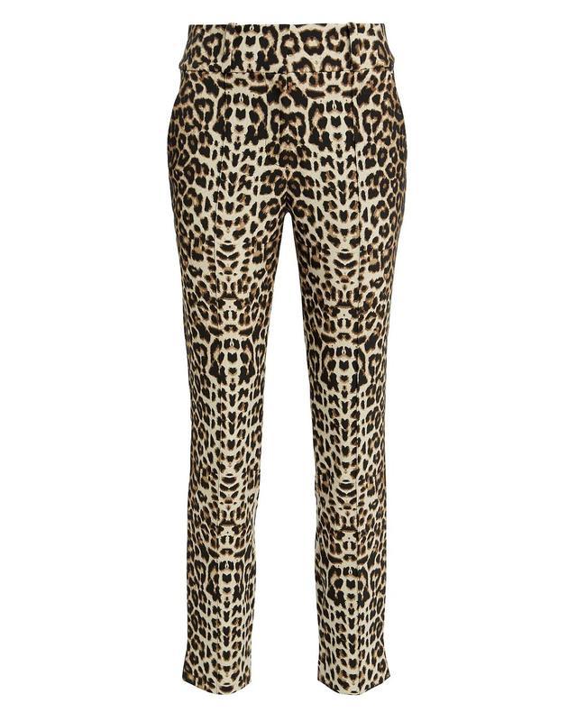 Veronica Beard Leopard High-Rise Trousers Brown 6
