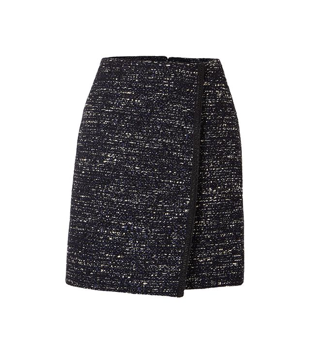 Tweed Wrap-effect Mini Skirt